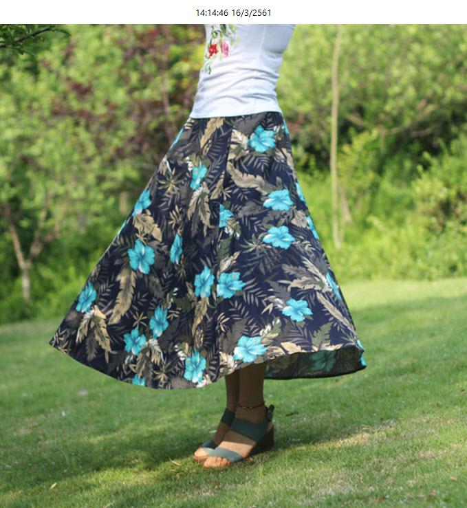 กระโปรงยาว แฟชั่นเกาหลีผ้าคอตตอนลินินแนววินเทจเอวยืดมีกระเป๋า นำเข้า ลายดอกไม้สีฟ้า พร้อมส่งBD0125 ราคา1150บาท