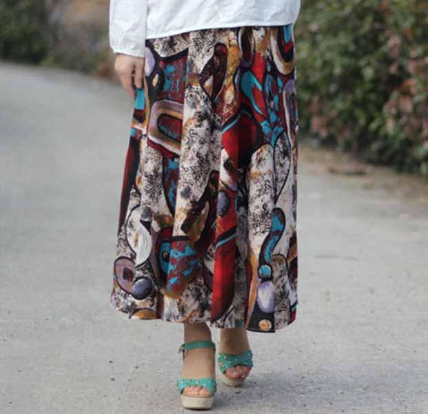 กระโปรงยาว แฟชั่นเกาหลีผ้าคอตตอนลินินแนววินเทจเอวยืดมีกระเป๋า นำเข้า ลายกราฟิก พร้อมส่งBD0126 ราคา1150บาท
