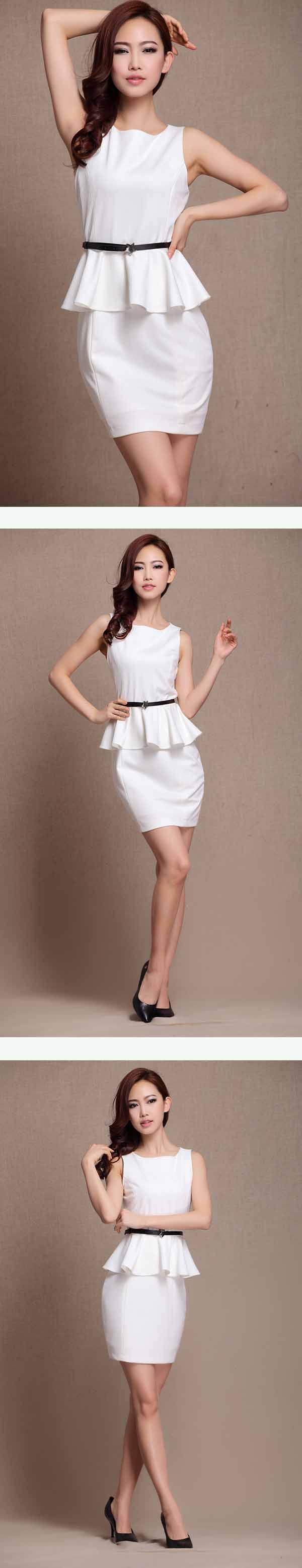 ชุดแซก แฟชั่นเกาหลีเดรสสวยชุดทำงานใหม่ นำเข้า ไซส์XL สีขาว - พร้อมส่งTJ7071 ราคา1000บาท