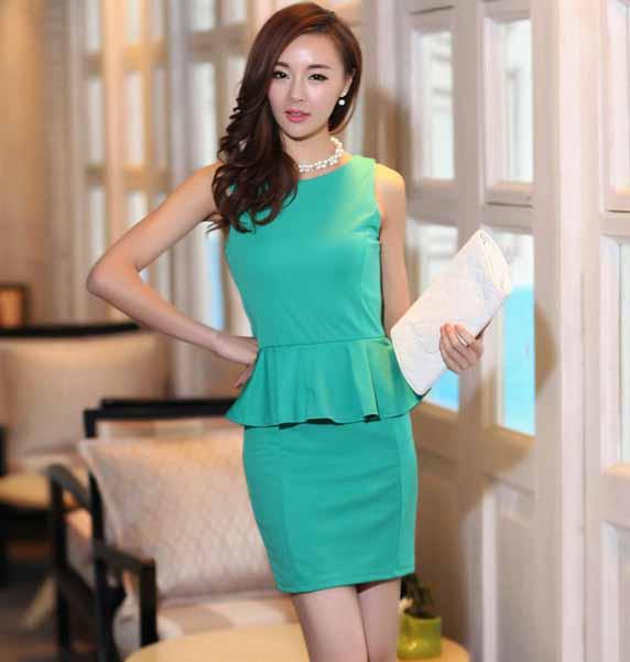 ชุดแซก แฟชั่นเกาหลีเดรสสวยชุดทำงานใหม่ นำเข้า ไซส์XL สีเขียว - พร้อมส่งTJ7071 ราคา1000บาท