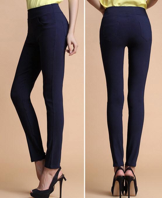 กางเกงเลคกิ้ง แฟชั่นเกาหลีเอวสูงสวยใส่สบายมีกระเป๋า นำเข้า สีน้ำเงิน