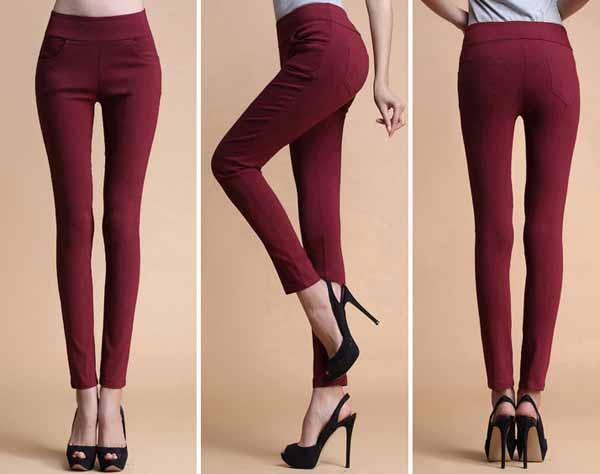กางเกงเลคกิ้ง แฟชั่นเกาหลีเอวสูงสวยใส่สบายมีกระเป๋า นำเข้า สีแดง