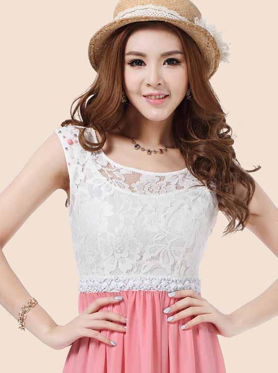 ชุดยาว แฟชั่นเกาหลีสวยผ้าชีฟองลูกไม้งานราตรี นำเข้า ไซส์L สีชมพู - พร้อมส่ง