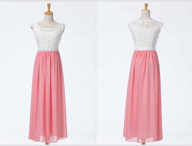 ชุดยาว แฟชั่นเกาหลีสวยผ้าชีฟองลูกไม้งานราตรี นำเข้า ไซส์L สีชมพู