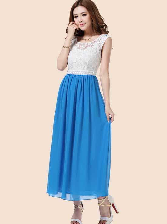 ชุดยาว แฟชั่นเกาหลีสวยผ้าชีฟองลูกไม้งานราตรี นำเข้า ไซส์LถึงXL สีฟ้า - พร้อมส่ง