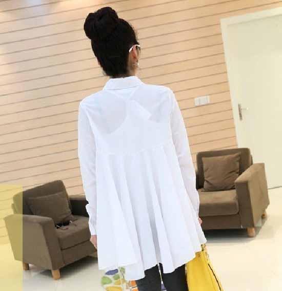 เสื้อเชิ้ต แฟชั่นเกาหลีตัวยาวระบายชีฟองสุดเซ็กซี่ นำเข้า ฟรีไซส์ สีขาว - พร้อมส่ง