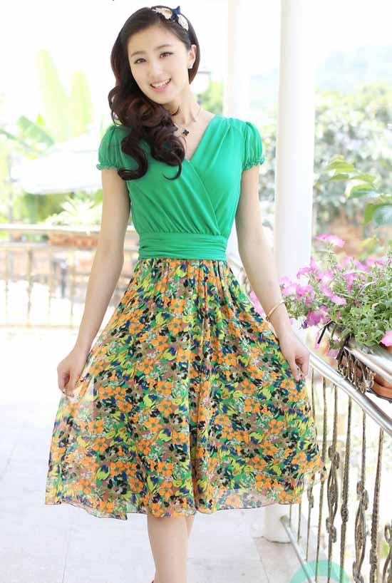 ชุดยาว แฟชั่นเกาหลีสวยชีฟองลายดอกไม้แขนสั้น นำเข้าไซส์L/XLสีเขียว - พร้อมส่ง