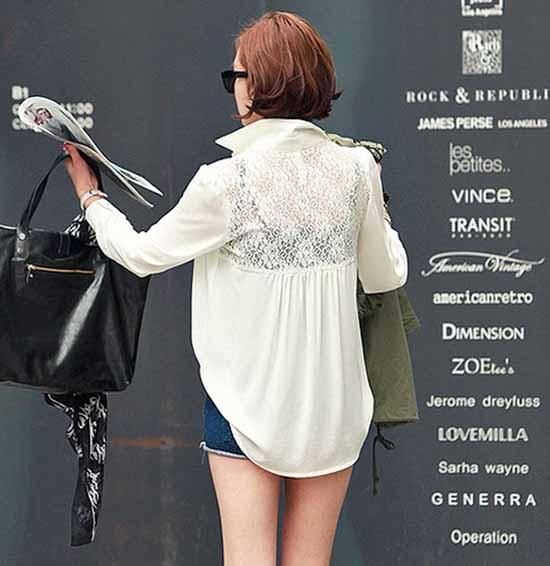 เสื้อเชิ้ต แฟชั่นเกาหลีตัวยาวลูกไม้ชีฟองสุดเซ็กซี่ นำเข้า ฟรีไซส์ สีขาว - พร้อมส่ง