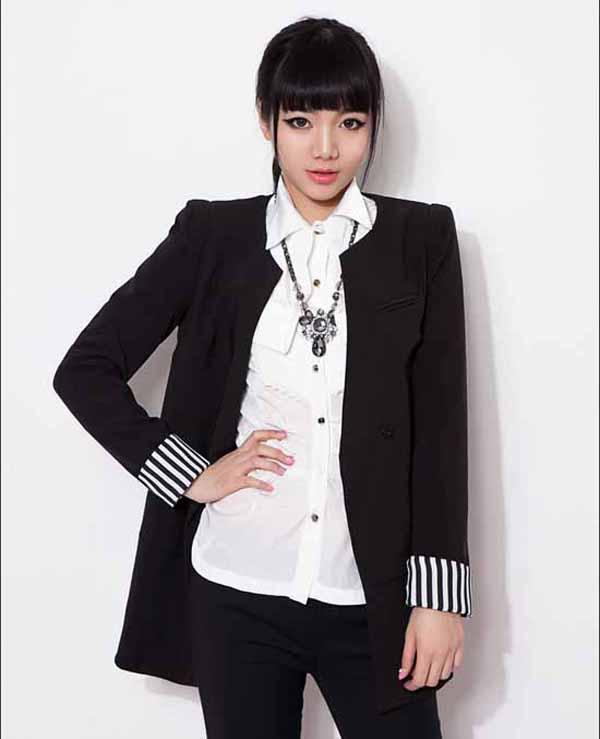 เสื้อสูท แฟชั่นเกาหลีตัวยาวคอกลมสวยเทรนด์หรู นำเข้า สีดำ - พร้อมส่งTJ7273 ราคา1100บาท