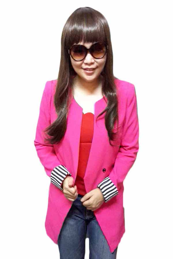 เสื้อสูท แฟชั่นเกาหลีตัวยาวคอกลมสวยเทรนด์หรู นำเข้า ไซส์L สีชมพู - พร้อมส่งTJ7273 ราคา1100บาท