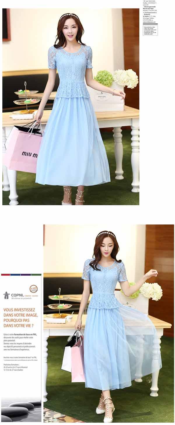ชุดราตรี แฟชั่นเกาหลีชุดชีฟองสายเดี่ยวและเสื้อลูกไม้2ชิ้นแยกหรูมาก ไซส์2XL นำเข้า สีฟ้า - พร้อมส่งTJ7276 ราคา1350บาท