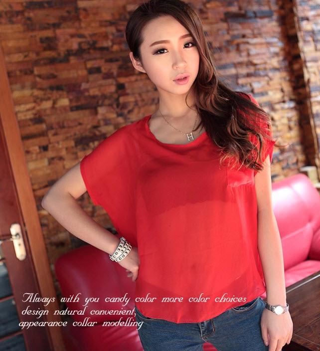 เสื้อชีฟองแขนสั้น แฟชั่นเกาหลีตัวหลวมซีทรูสวยใส่สบาย นำเข้า ฟรีไซส์ สีแดง - พร้อมส่งTJ7291 ราคา450บาท