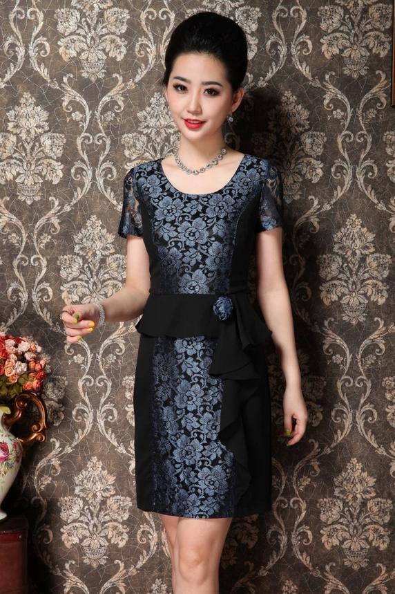 ชุดแซกราตรี ผ้าไหมเกาหลีไปงานแต่งงานหรูแบบชุดทำงานสวยสีน้ำเงิน นำเข้า ไซส์2XLถึง3XL - พร้อมส่งTJ7295 ราคา1590บาท