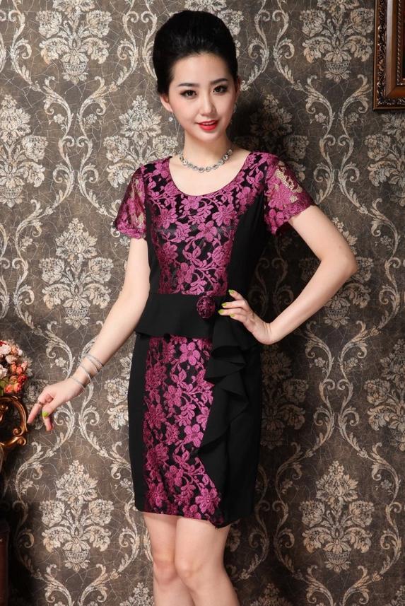 ชุดแซกราตรี ผ้าไหมเกาหลีไปงานแต่งงานหรูแบบชุดทำงานสวยสีชมพู นำเข้า ไซส์2XLถึง3XL - พร้อมส่งTJ7295 ราคา1590บาท