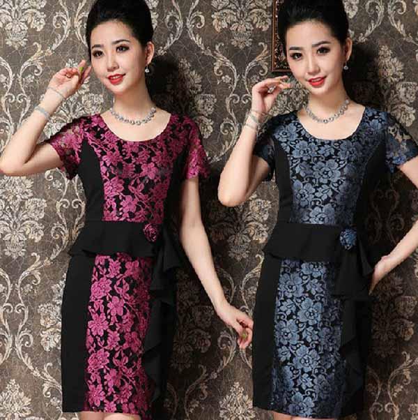 ชุดแซกราตรี ผ้าไหมเกาหลีไปงานแต่งงานหรูแบบชุดทำงานสวย นำเข้า ไซส์2XLถึง3XL - พร้อมส่งTJ7295 ราคา1590บาท