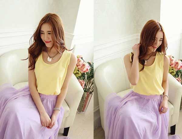 เสื้อชีฟองแขนกุด แฟชั่นเกาหลีใหม่พริ้วสวยใส่สบาย นำเข้า ฟรีไซส์ สีเหลือง - พร้อมส่งTJ7315 ราคา450บาท