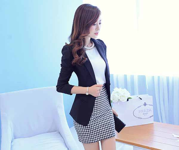 เสื้อสูท แฟชั่นเกาหลีผู้หญิงใส่ทำงานแบบกระดุม1เม็ดสวยสง่า นำเข้า สีดำ ไซส์Lถึง2XL - พร้อมส่งTJ7338 ราคา1250บาท