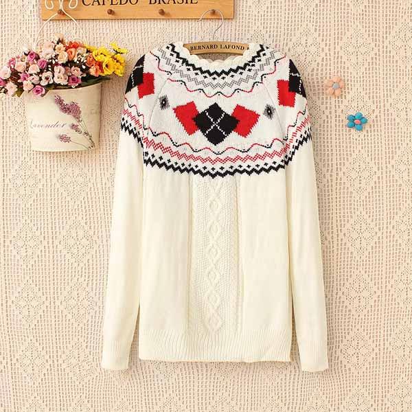 เสื้อกันหนาวไหมพรม แฟชั่นเกาหลีแขนยาวคอระบายหยักสไตล์ผู้หญิงสวย นำเข้า ฟรีไซส์ สีขาว - พร้อมส่งTJ7345 ราคา1100บาท