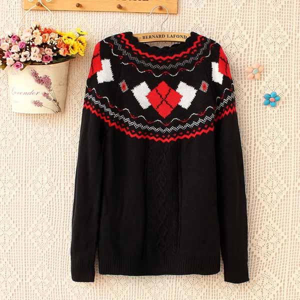 เสื้อกันหนาวไหมพรม แฟชั่นเกาหลีแขนยาวคอระบายหยักสไตล์ผู้หญิงสวย นำเข้า ฟรีไซส์ สีดำ - พร้อมส่งTJ7345 ราคา1100บาท