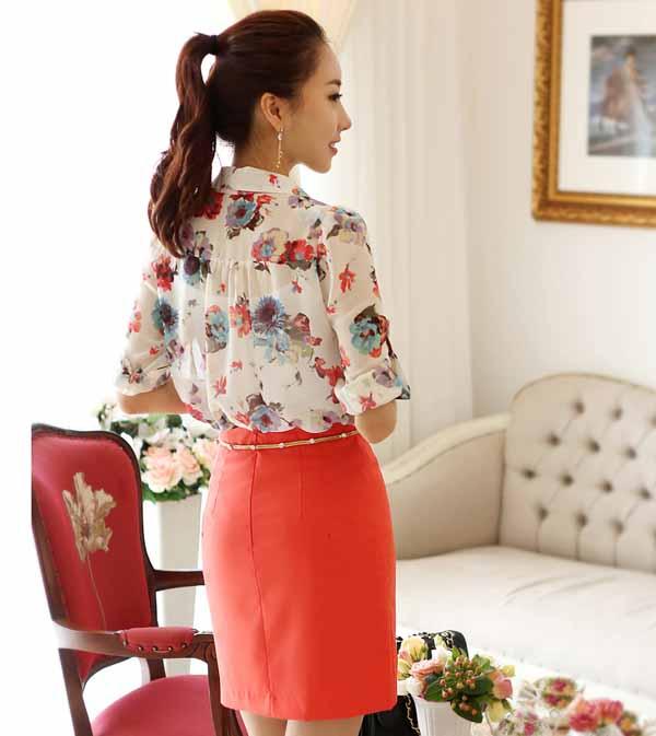เสื้อเชิ้ตผู้หญิง แขนยาวผ้าชีฟองลายดอกไม้ตัวหลวมแฟชั่นเกาหลี นำเข้า ฟรีไซส์ - พร้อมส่งTJ7348 ราคา995บาท