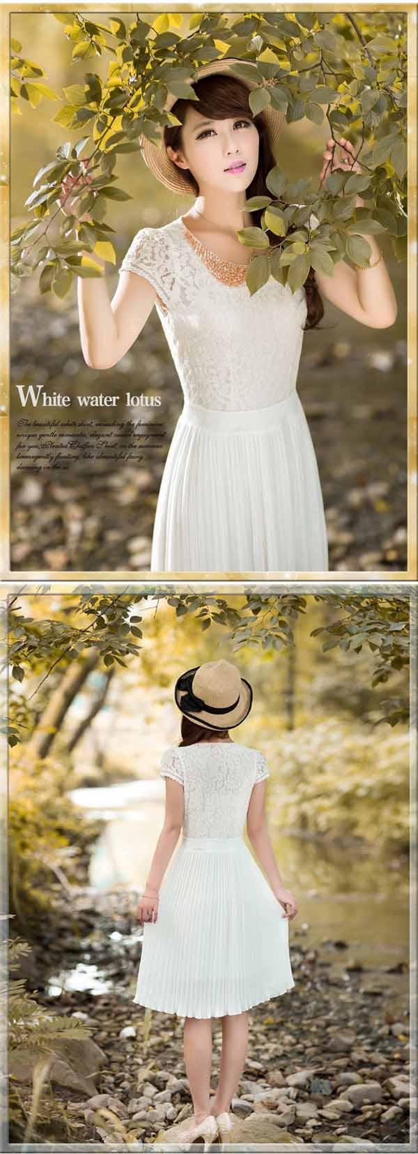 ชุดราตรีหรูหรา ชีฟองแต่งลูกไม้คอบัวแฟชั่นเกาหลีสำหรับคนสวย นำเข้า สีขาว มีไซส์ใหญ่LและXL - พร้อมส่งTJ7364 ราคา1400บาท