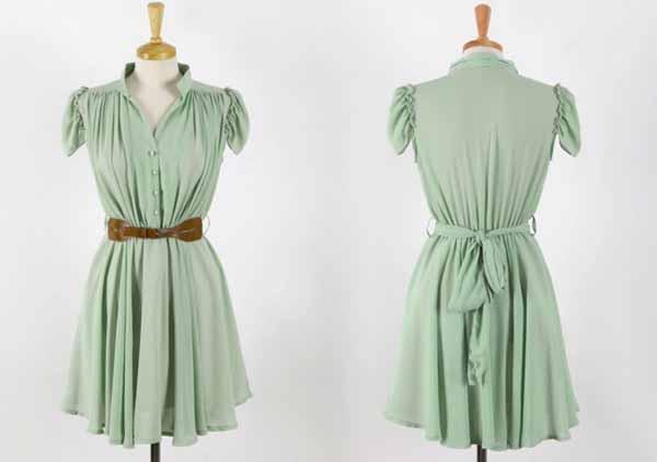 ชุดแซก แฟชั่นเกาหลีเดรสสวยชุดทำงานชีฟองใหม่ นำเข้า ไซส์XL สีเขียวอ่อน - พร้อมส่งTJ7374 ราคา1000บาท