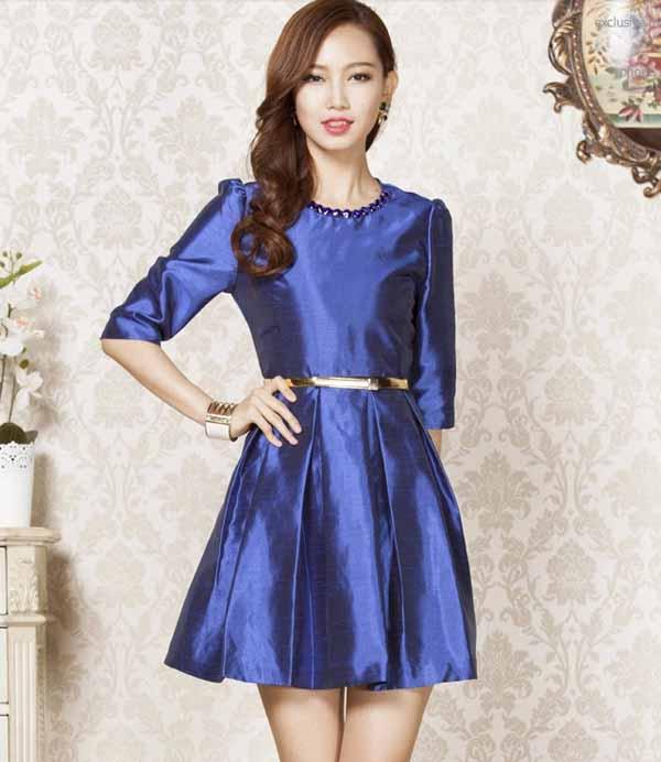 ชุดผ้าไหม คอปักเลื่อมแขนสามส่วนทรงเอใส่งานแต่งงานพร้อมเข็มขัดทองหรู นำเข้า ไซส์XL สีน้ำเงิน - พร้อมส่งTJ7386 ราคา1800บาท
