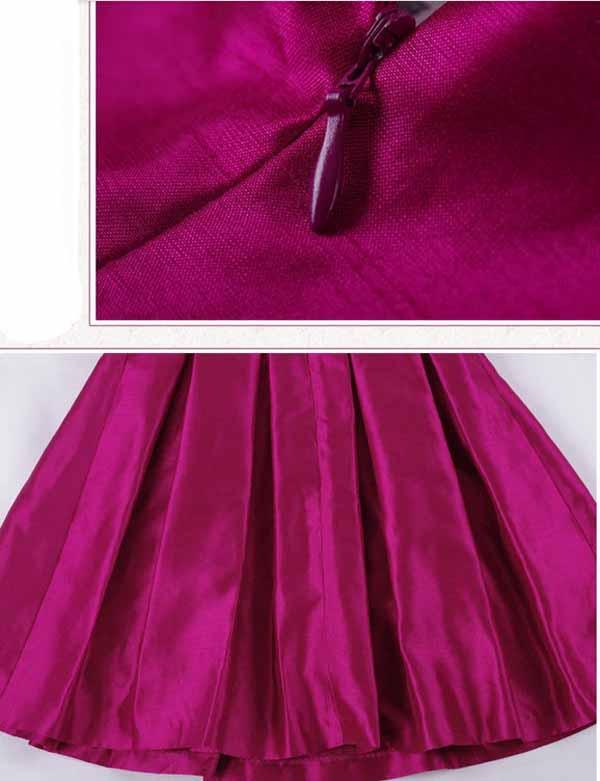 ชุดผ้าไหม คอปักเลื่อมแขนสามส่วนทรงเอใส่งานแต่งงานพร้อมเข็มขัดทองหรู นำเข้า ไซส์XL สีชมพู - พร้อมส่งTJ7386 ราคา1800บาท