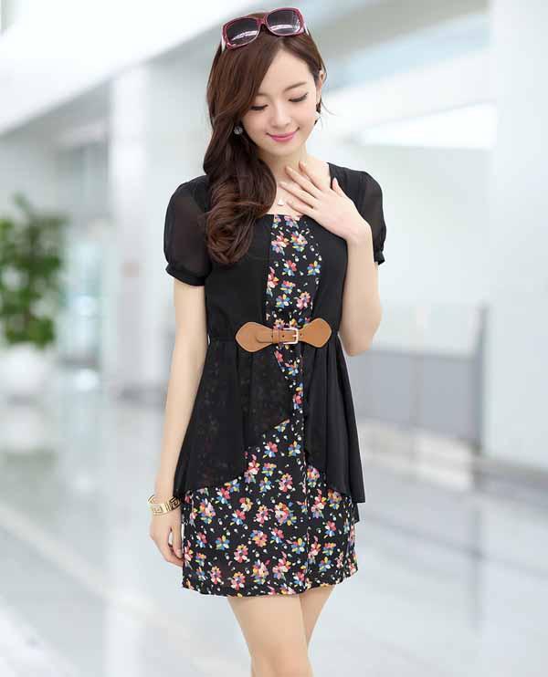 ชุดแซกสั้น แฟชั่นเกาหลีเดรสสวยชุดทำงานลายดอกไม้แต่งเข็มขัด นำเข้า ไซส์2XL สีดำ - พร้อมส่งTJ7429 ราคา1250บาท