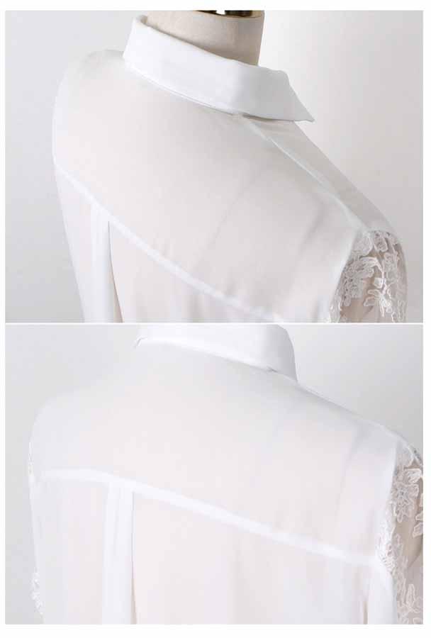 เสื้อเชิ้ตลูกไม้ แขนยาวลุดหวานดีไซน์แฟชั่นเกาหลีสวยหรูหรา นำเข้า ไซส์XL สีขาว - พร้อมส่งTJ7430 ราคา995บาท