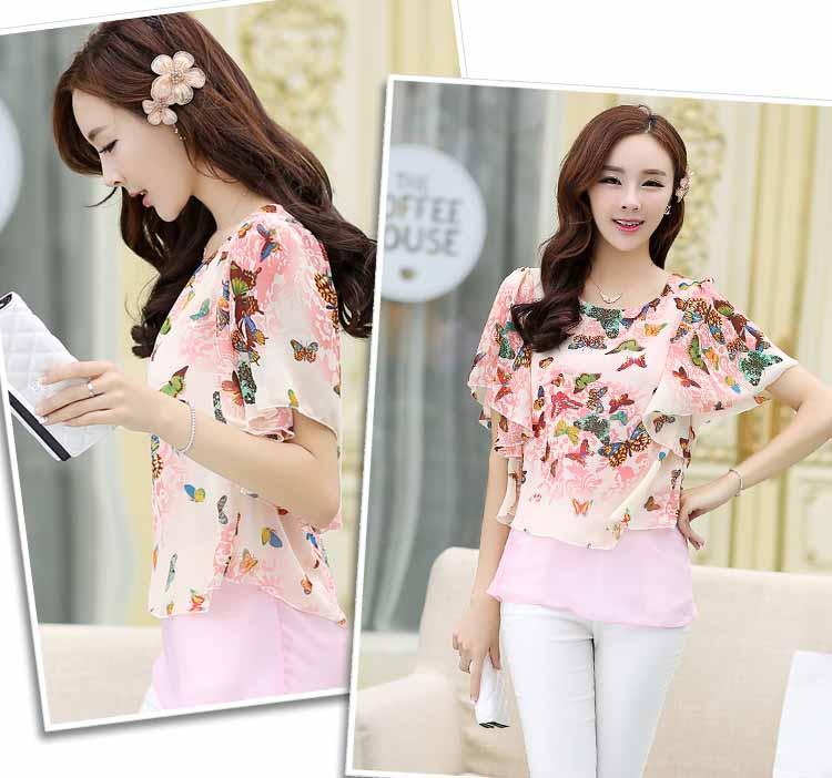 เสื้อชีฟองแขนค้างคาว แฟชั่นเกาหลีสวยหวานลายผีเสื้อพริ้วน่ารัก นำเข้า ไซส์2XL สีชมพู - พร้อมส่งTJ7452 ราคา890บาท