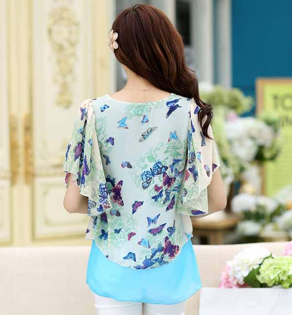 เสื้อชีฟองแขนค้างคาว แฟชั่นเกาหลีสวยหวานลายผีเสื้อพริ้วน่ารัก นำเข้า ไซส์2XL สีฟ้า - พร้อมส่งTJ7452 ราคา890บาท