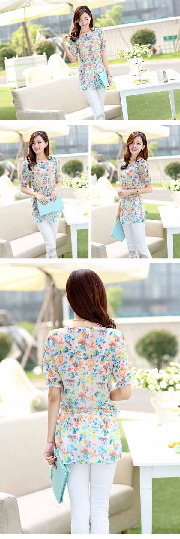 เสื้อชีฟองลายดอกไม้ แฟชั่นเกาหลีแขนตุ๊กตาสวยหวานเอวผูกโบว์ใหม่น่ารัก นำเข้า ไซส์2XL - พร้อมส่งTJ7456 ราคา950บาท