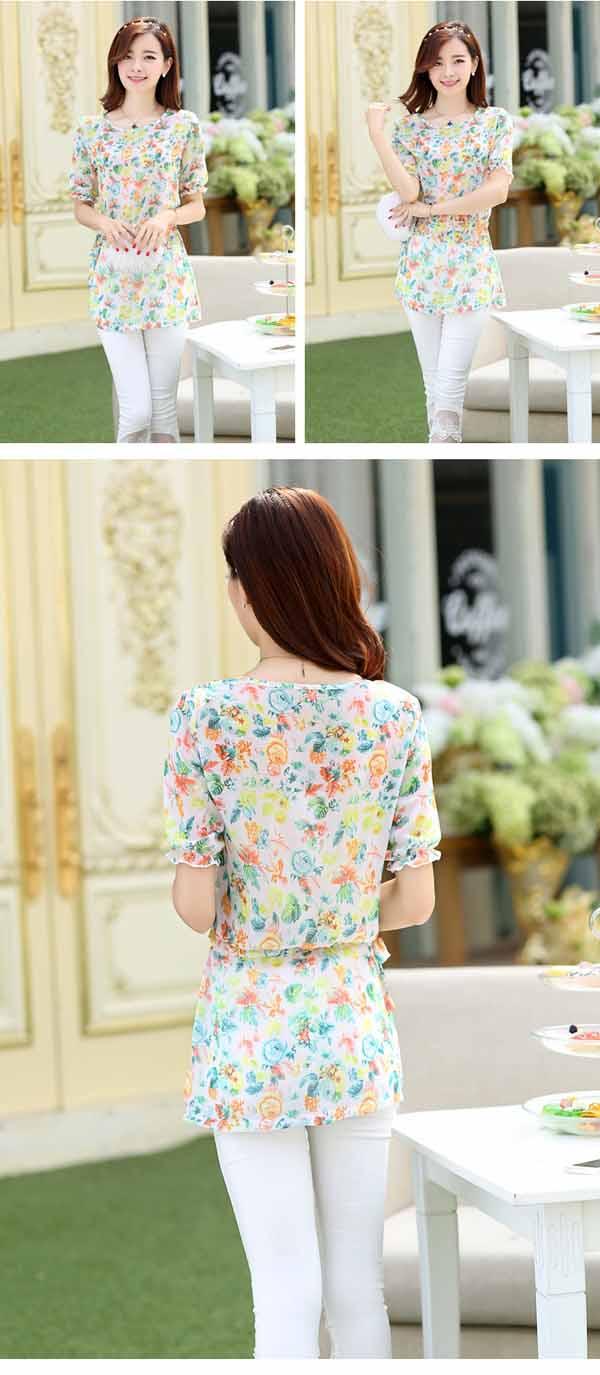 เสื้อชีฟองลายดอกไม้ แฟชั่นเกาหลีแขนตุ๊กตาสวยหวานเอวผูกโบว์ใหม่น่ารัก นำเข้า ไซส์2XL - พร้อมส่งTJ7457 ราคา950บาท