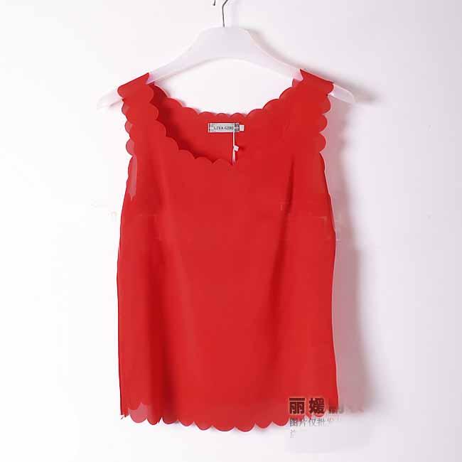 เสื้อชีฟองแขนกุด รอบคอและชายเสื้อหยักระบายสไตล์หวานแฟชั่นเกาหลีใหม่ นำเข้า ฟรีไซส์ สีแดง - พร้อมส่งTJ7474 ราคา299บาท