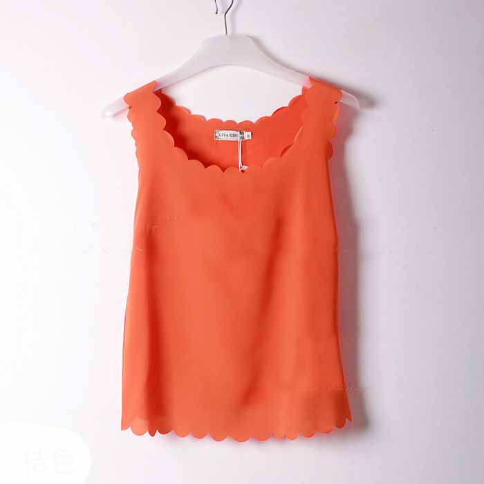 เสื้อชีฟองแขนกุด รอบคอและชายเสื้อหยักระบายสไตล์หวานแฟชั่นเกาหลีใหม่ นำเข้า ฟรีไซส์ สีส้ม - พร้อมส่งTJ7474 ราคา299บาท