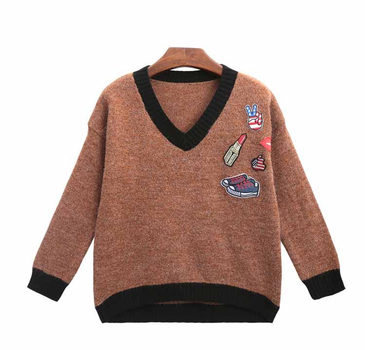 เสื้อสเวตเตอร์กันหนาวคอวี แฟชั่นเกาหลีผ้าวูลแขนยาวเนื้อนุ่มมาก นำเข้า ฟรีไซส์ สีน้ำตาล - พร้อมส่งTJ7476 ราคา1550บาท