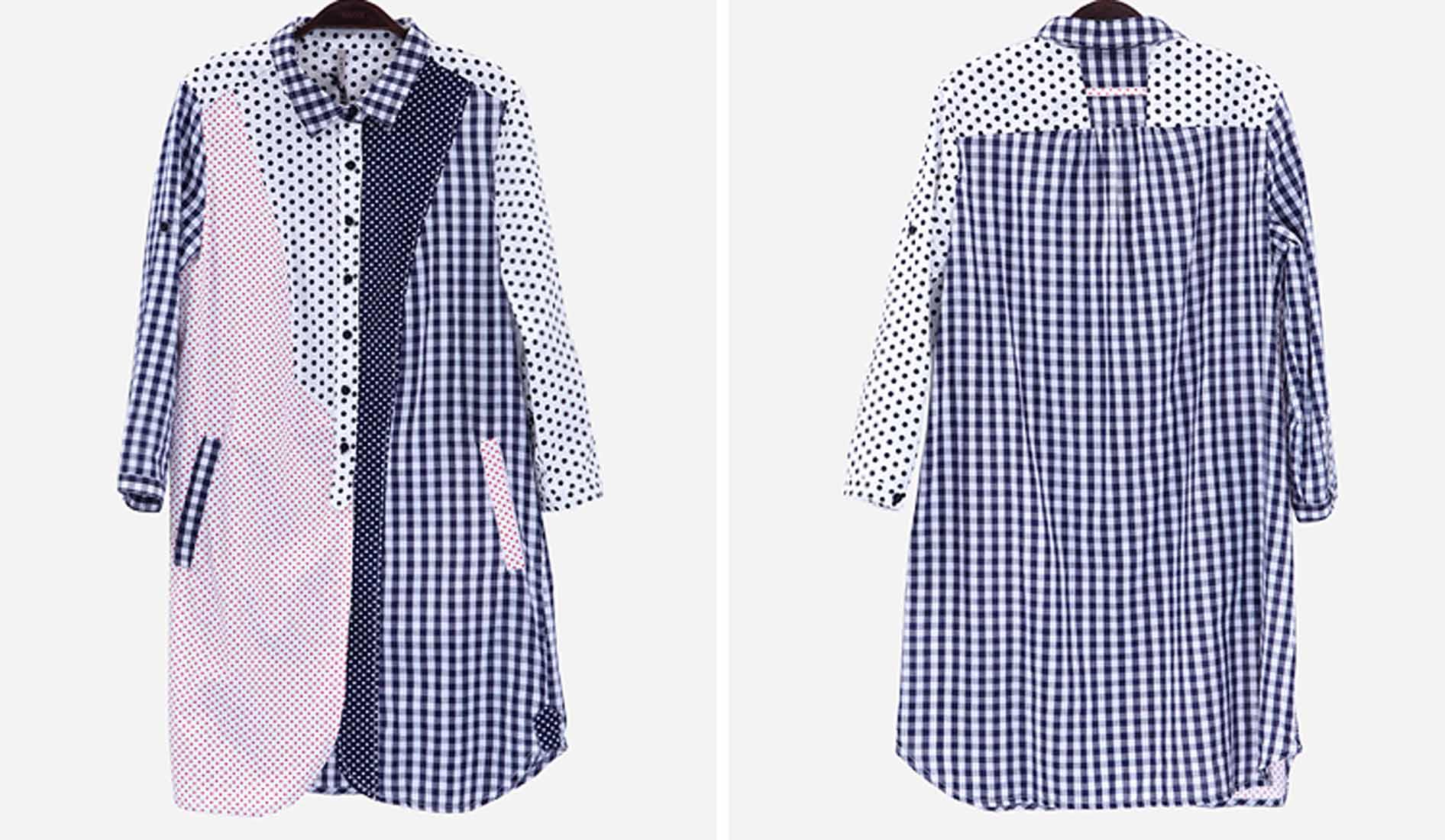 เสื้อเชิ้ตตัวยาว แฟชั่นเกาหลีลายสก๊อตตารางแต่งลายจุดใหม่สุดอินเทรนด์ นำเข้า ไซส์L - พร้อมส่งTJ7481 ราคา1350บาท