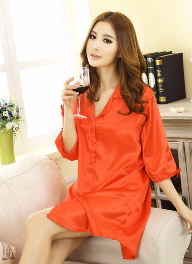 ชุดนอน แฟชั่นเกาหลีแบบเชิ้ตตัวยาวแขนสั้นผ้าซาตินใส่สบายสวย ฟรีไซส์ นำเข้า สีส้มแสด - พร้อมส่งTJ7496 ราคาถูก599บาท