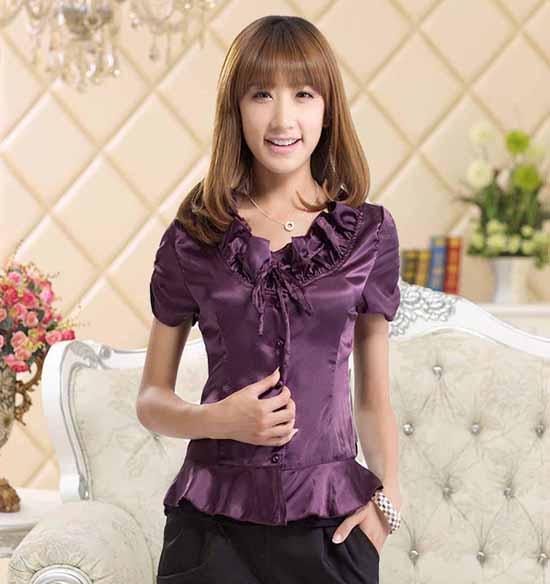 เสื้อเชิ้ตสีม่วง ผู้หญิงแขนสั้นใส่ทำงานสวยแฟชั่นเกาหลีผ้าไหมซาติน นำเข้า สีม่วง ไซส์M - พร้อมส่งTJ7502 ราคา1100บาท