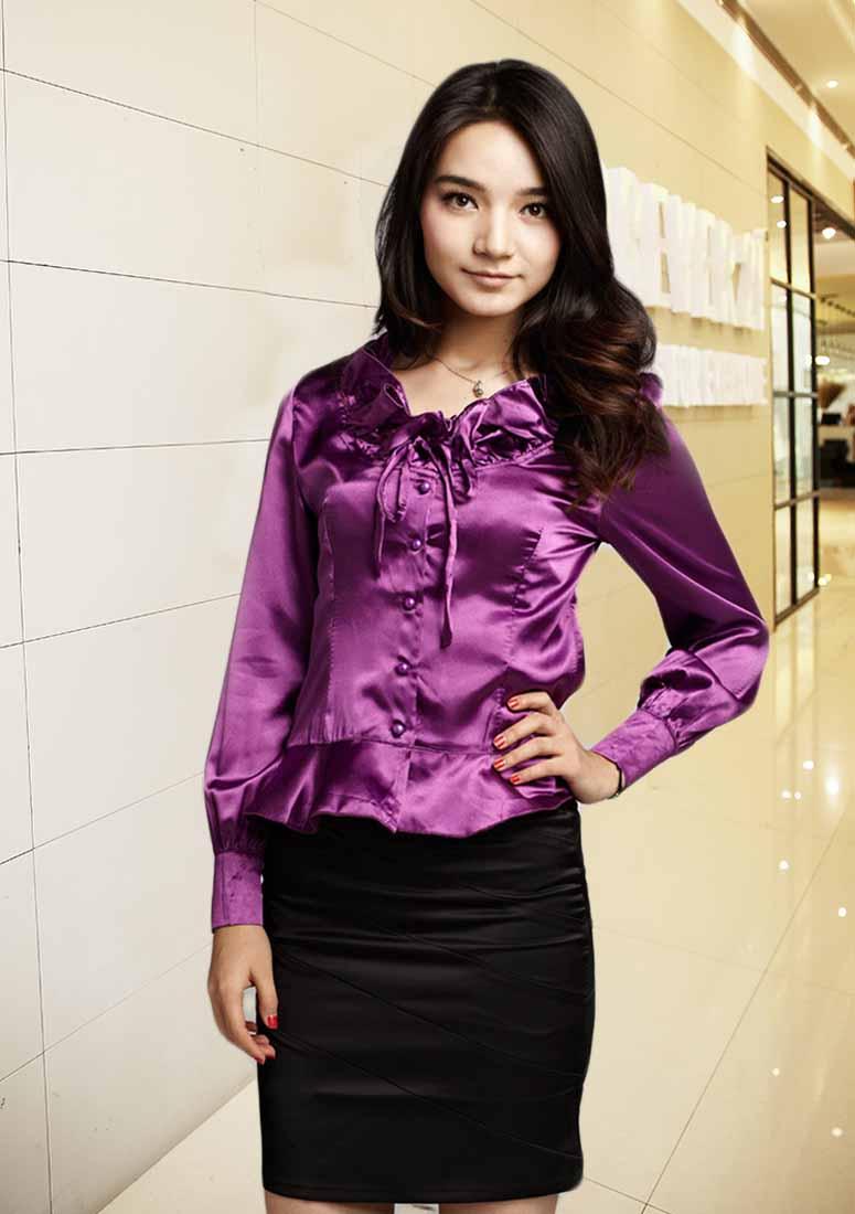 เสื้อเชิ้ตสีม่วง ผู้หญิงแขนยาวใส่ทำงานสวยแฟชั่นเกาหลีผ้าไหมซาติน นำเข้า สีม่วง ไซส์L - พร้อมส่งTJ7504 ราคา1100บาท