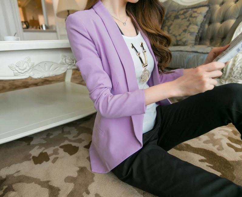 เสื้อสูท แฟชั่นเกาหลีผู้หญิงทำงานออฟฟิศแขนยาวสวยรุ่นใหม่สไตล์แบรนด์ นำเข้า สีม่วง ไซส์Lถึง2XL - พร้อมส่งTJ7513 ราคา1250บาท
