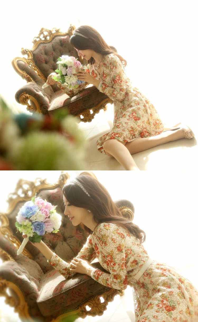 ชุดราตรีลูกไม้แขนยาว แฟชั่นเกาหลีคอวีลายดอกไม้สวยหวานดังเจ้าหญิง ไซส์XL นำเข้า สีเบจครีม - พร้อมส่งTJ7521 ราคา1350บาท