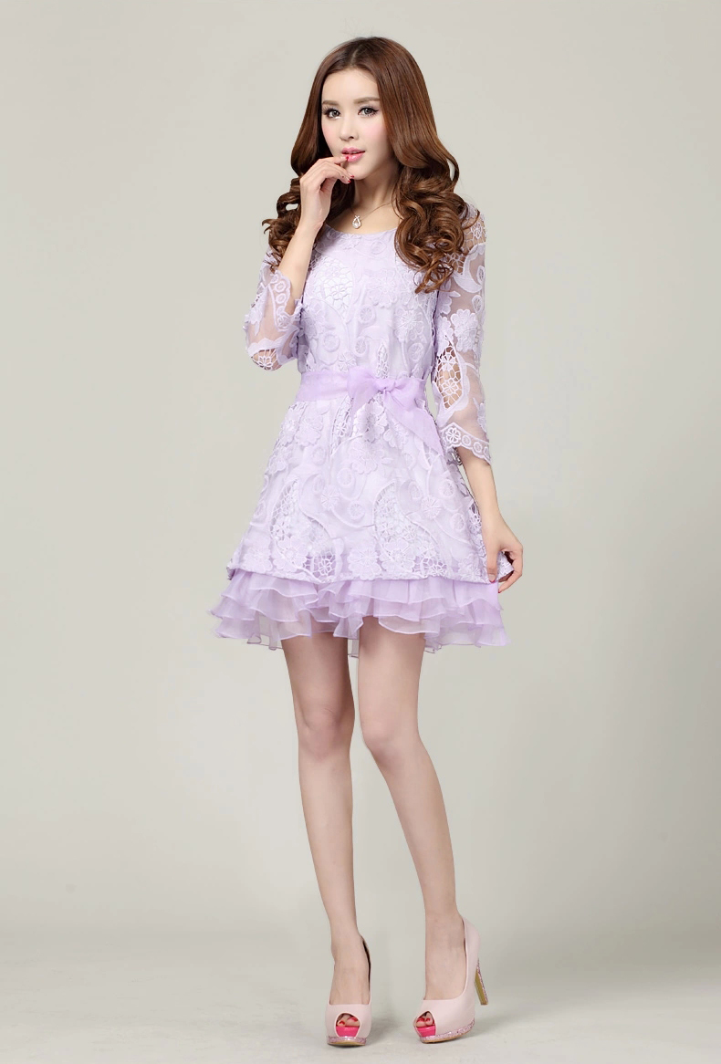 ชุดราตรี ผ้าไหมแก้วเกาหลีลายดอกไม้ Organza Lace Dress หรูมาก ไซส์LถึงXL นำเข้า สีม่วง - พร้อมส่งTJ7524 ราคา1500บาท