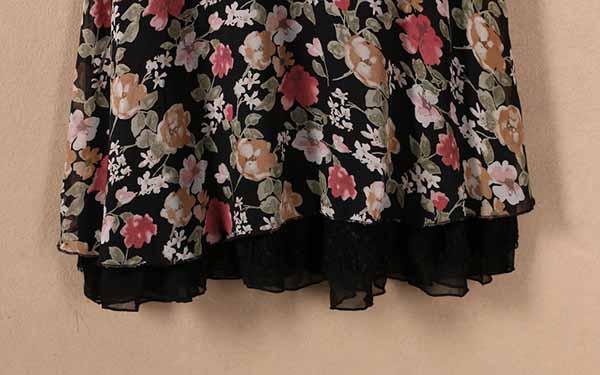 ชุดแซกลูกไม้สั้น แฟชั่นเกาหลีชีฟองลายดอกไม้พร้อมซับในซิปข้างสวย นำเข้า L สีดำ - พร้อมส่งTJ7537 ราคา800บาท
