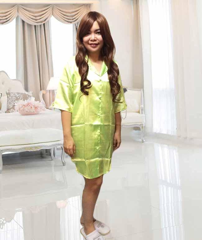 ชุดนอน แฟชั่นเกาหลี ผ้าซาตินใส่สบายสวย ฟรีไซส์ นำเข้า สีเขียวอ่อน - พร้อมส่งBO7038