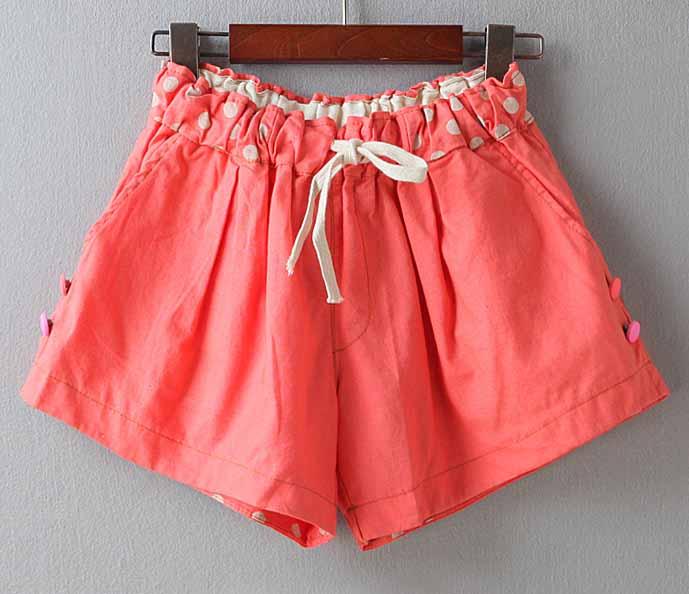 กางเกงขาสั้นผู้หญิง แฟชั่นเกาหลีผ้าฝ้ายลายจุดเอวยางยืดทรงสวยน่ารัก ฟรีไซส์ นำเข้า สีส้ม - พร้อมส่งTJ7595 ราคา550บาท