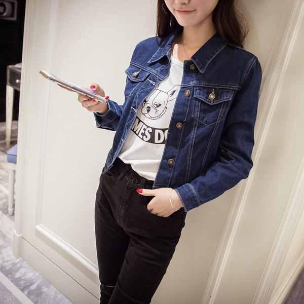 เสื้อแจ็คเก็ตยีนส์ ผู้หญิงแฟชั่นเกาหลีแขนยาวเอวตรงสวย DENIM JACKET นำเข้า ไซส์L - พร้อมส่งTJ7627 ราคา990บาท