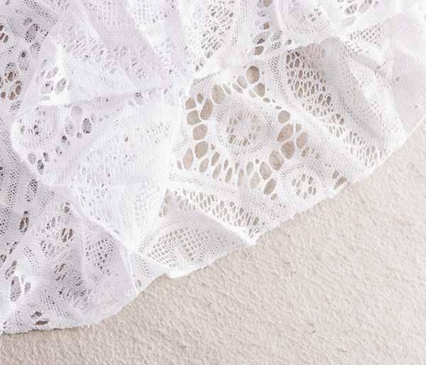 เสื้อลูกไม้ แฟชั่นเกาหลีแขนสั้นปีกผีเสื้อลูกไม้ทั้งตัวสวยหรู นำเข้า ฟรีไซส์ สีขาว - พร้อมส่งTJ7695 ราคา950บาท