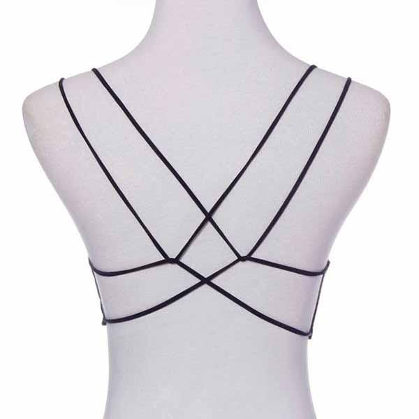 เสื้อชั้นใน แฟชั่นเกาหลีเสื้อครอปทับโชว์แผ่นหลังหรือสวมใส่สบายๆ นำเข้า ฟรีไซส์ สีดำ - พร้อมส่งTJ7715 ราคา199บาท